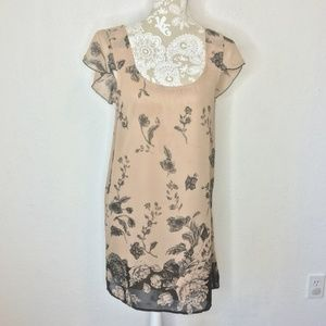 Everly Tan & Black Floral Shift Dress
